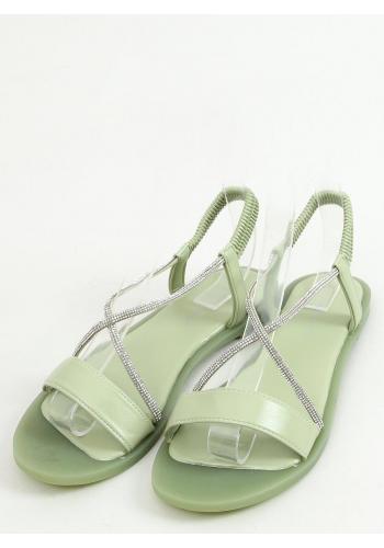 Zelené nazouvací sandály s kamínky pro dámy