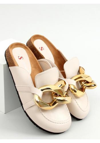 Béžové stylové pantofle s hrubým řetízkem pro dámy