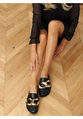 Dámské stylové pantofle s hrubým řetízkem v černé barvě