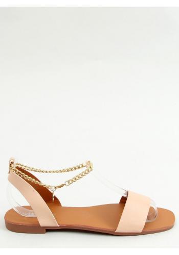 Minimalistické dámské sandály béžové barvy se zlatým řetízkem