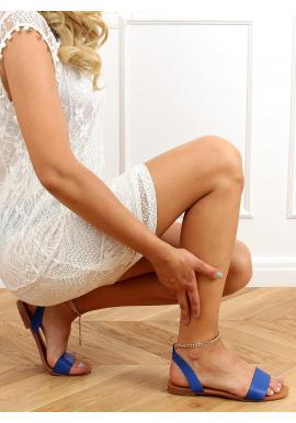 Modré minimalistické sandály se zlatým řetízkem pro dámy