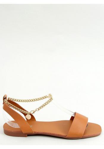 Minimalistické dámské sandály hnědé barvy se zlatým řetízkem