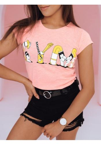 Módní dámské tričko růžové barvy s potiskem