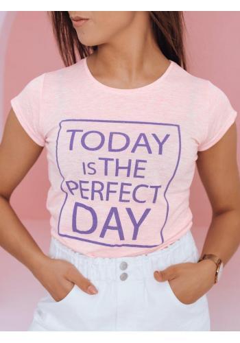 Dámské klasické trička s potiskem v růžové barvě