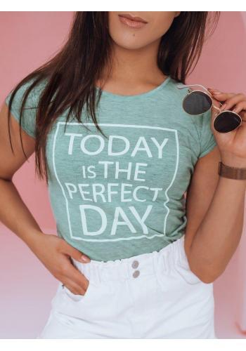 Klasické dámské tričko mátové barvy s potiskem