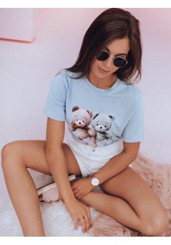Světle modré volnější triko s potiskem medvídků pro dámy