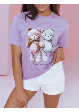 Dámské volnější triko s potiskem medvídků ve fialové barvě