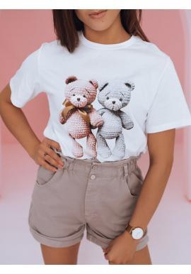 Volnější dámské tričko bílé barvy s potiskem medvídků
