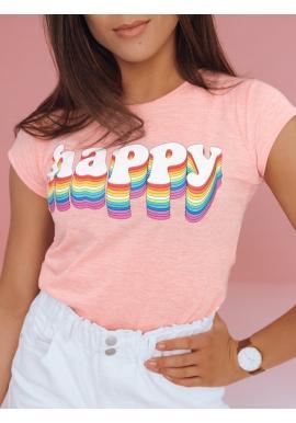 Dámské bavlněné tričko s potiskem v růžové barvě