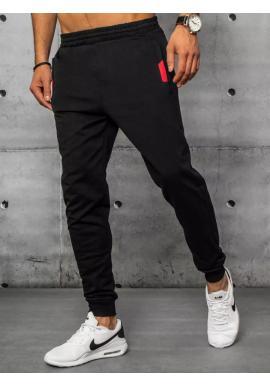 Sportovní pánské tepláky černé barvy s ozdobnými vložkami