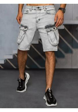 Riflové pánské kraťasy šedé barvy s cargo kapsami