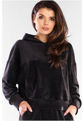 Velurová dámská mikina černé barvy s kapucí