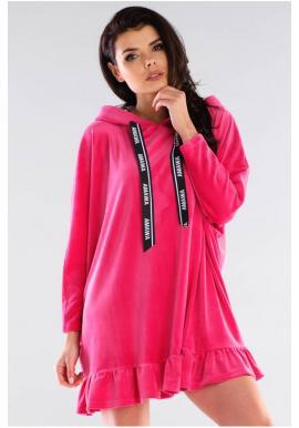 Růžová oversize mikina s kapucí pro dámy