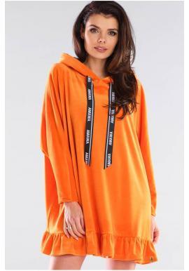 Dámská oversize mikina s kapucí v oranžové barvě