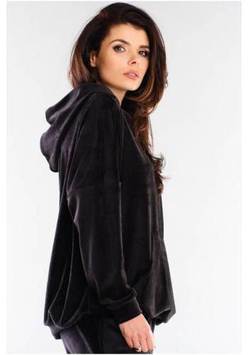 Černá volná velurová mikina s kapucí pro dámy