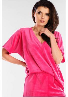 Velurové dámské tričko růžové barvy s véčkovým výstřihem