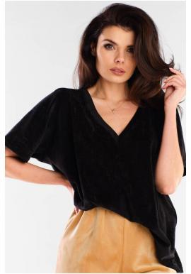 Černé velurové tričko s véčkovým výstřihem pro dámy