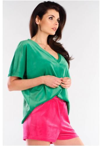 Dámské velurové tričko s véčkovým výstřihem v zelené barvě