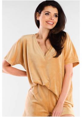 Velurové dámská trička béžové barvy s véčkovým výstřihem