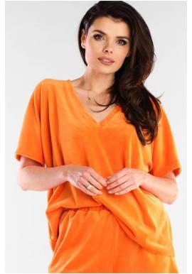 Oranžové velurové tričko s véčkovým výstřihem pro dámy