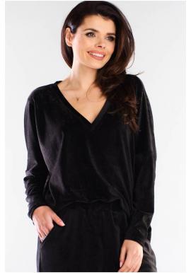 Volné dámské tričko černé barvy s véčkovým výstřihem