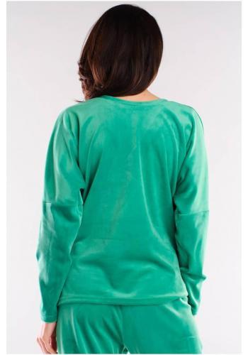 Dámské volné tričko s véčkovým výstřihem v zelené barvě