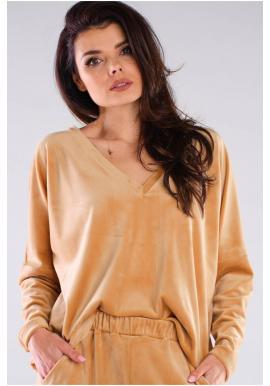 Béžové volné tričko s véčkovým výstřihem pro dámy
