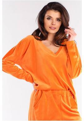 Volné dámská trička oranžové barvy s véčkovým výstřihem