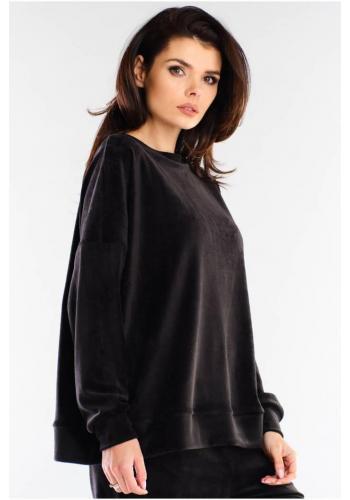 Velurová dámská oversize mikina černé barvy