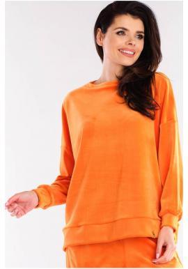 Velurová dámská oversize mikina oranžové barvy