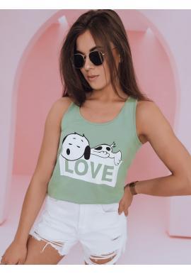 Dámské módní tričko s motivem Snoopyho v zelené barvě