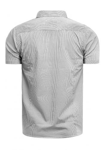 Bílá pásikavá košile s kapsami na hrudi pro pány