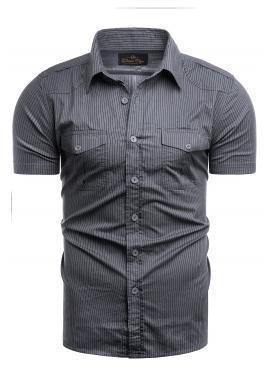 Pásikavá pánská košile tmavě šedé barvy s kapsami na hrudi