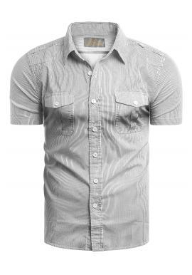 Pánská pásikavá košile s kapsami na hrudi v bílé barvě