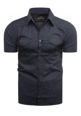 Tmavě modrá pásikavá košile s kapsami na hrudi pro pány