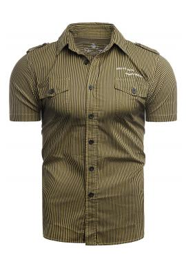 Pásikavá pánská košile hnědé barvy s kapsami na hrudi