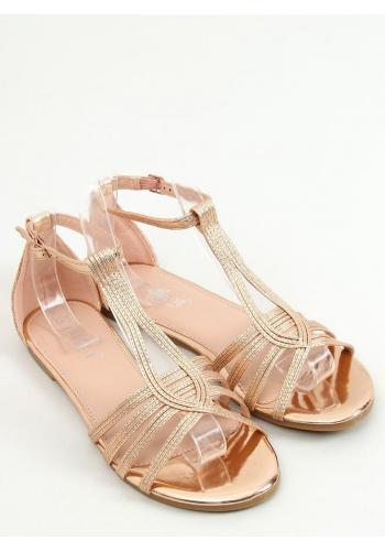Dámské metalické sandály v růžovo-zlaté barvě