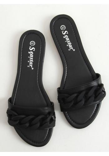 Lícové dámské pantofle černé barvy s matným řetízkem