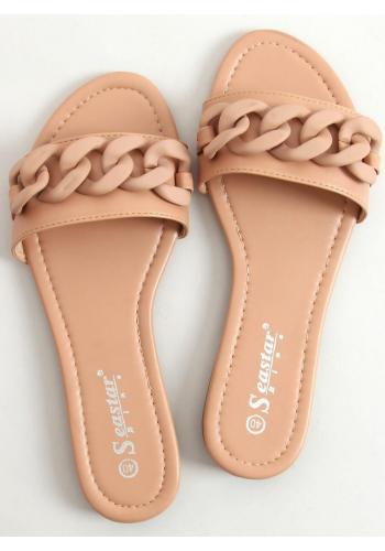 Béžové lícové pantofle s matným řetízkem pro dámy