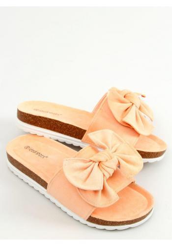 Semišové dámské pantofle meruňkové barvy na korkové podrážce
