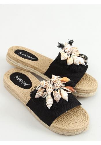 Černé letní pantofle s mušlemi pro dámy