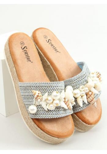 Světle modré stylové pantofle s mušlemi pro dámy