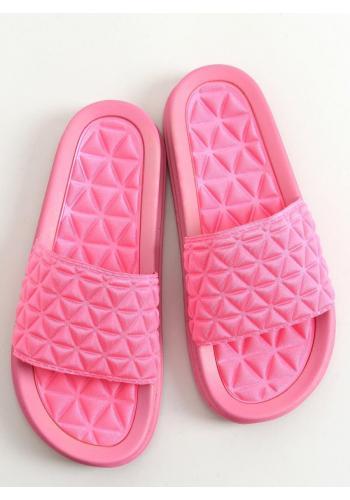 Prošívané dámské pantofle fuchsiové barvy se zoubkovanou podrážkou