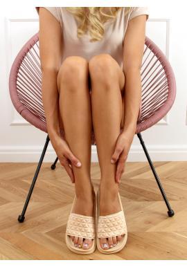 Béžové prošívané pantofle se zoubkovanou podrážkou pro dámy