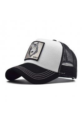Baseballová stylová kšiltovka černo-bílé barvy se síťkou a s nášivkou