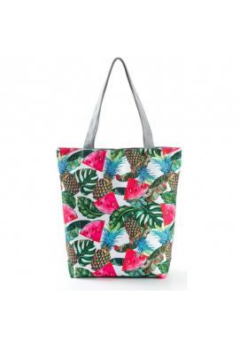Plážová dámská taška s barevným tropickým potiskem