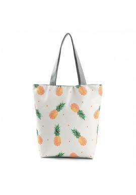Bílo-šedá plážová taška s potiskem ananasů pro dámy