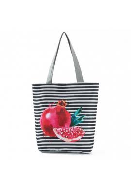 Plážová pásikavá taška s barevným potiskem