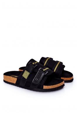 Pánské korkové pantofle Big Star se suchým zipem v černé barvě