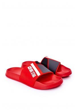 Gumové pánské pantofle Big Star červené barvy